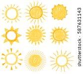 set of symbols of the sun. hand ... | Shutterstock .eps vector #587631143