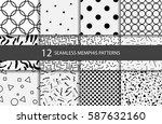 set seamless geometric patterns.... | Shutterstock .eps vector #587632160