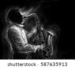 jazz saxophone player jazz... | Shutterstock . vector #587635913
