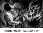 jazz saxophone player jazz... | Shutterstock . vector #587635949