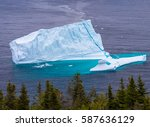 aerial view of iceberg on ocean ... | Shutterstock . vector #587636129