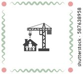 construction crane with house... | Shutterstock .eps vector #587638958