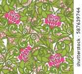 seamless floral vintage pattern ... | Shutterstock .eps vector #587639744
