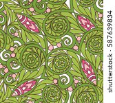 seamless floral vintage pattern ... | Shutterstock .eps vector #587639834
