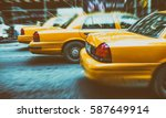 yellow cabs in city avenue fast ... | Shutterstock . vector #587649914