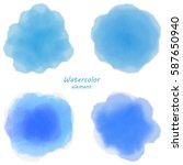 Blue Watercolor Blotch. Set Of...