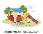 girl playing with ball.... | Shutterstock .eps vector #587662664