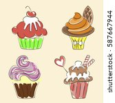 collection of hand drawn... | Shutterstock .eps vector #587667944