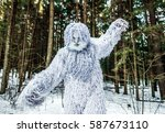 Stock photo yeti fairy tale character in winter forest outdoor fantasy photo 587673110