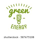 green energy label or badge.... | Shutterstock .eps vector #587675108