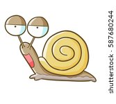 funny and cute snail in cartoon ...