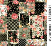 seamless patchwork pattern with ... | Shutterstock .eps vector #587680694