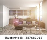 interior with sofa. 3d... | Shutterstock . vector #587681018