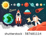 conquest of space.   Shutterstock .eps vector #587681114