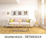 interior with sofa. 3d... | Shutterstock . vector #587682614