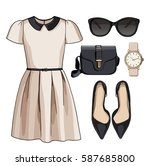 lady fashion set of spring ... | Shutterstock . vector #587685800