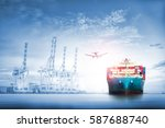 logistics and transportation of ... | Shutterstock . vector #587688740