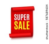 sale banner. red realistic... | Shutterstock .eps vector #587689604