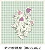 card with colorful flowers.... | Shutterstock .eps vector #587701070