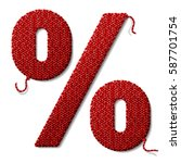 percent symbol of knitted...   Shutterstock .eps vector #587701754