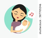 mother holding her sleeping... | Shutterstock .eps vector #587705246