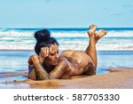 beautiful young tattooed woman... | Shutterstock . vector #587705330
