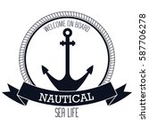 nautical frame with anchor | Shutterstock .eps vector #587706278