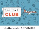 """airplane with banner """"sport...   Shutterstock .eps vector #587707028"""