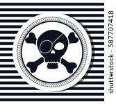 nautical frame with pirate skull | Shutterstock .eps vector #587707418