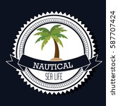 nautical frame with tree palm | Shutterstock .eps vector #587707424
