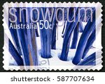 Small photo of AUSTRALIA - CIRCA 2005: A used postage stamp from Australia, depicting an image of the Snow Gum flowering shrub, also known as White Sallee or Eucalyptus Pauciflora, circa 2005.