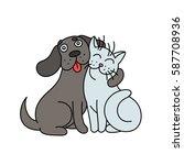 Stock vector cute dog hugs cat vector illustration 587708936