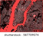 new york map  satellite view ... | Shutterstock . vector #587709074