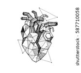 dotwork polygonal broken heart. ... | Shutterstock .eps vector #587710058