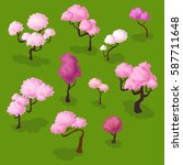 Set Of Isometric Sakura Trees ...