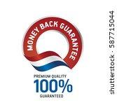 money back guarantee red ribbon ... | Shutterstock .eps vector #587715044