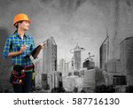 engineer woman with folder and... | Shutterstock . vector #587716130