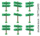 vector set of wooden arrow... | Shutterstock .eps vector #587716490