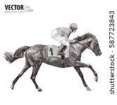 jockey on horse. champion.... | Shutterstock .eps vector #587723843