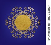 stencil template of gold... | Shutterstock .eps vector #587732834