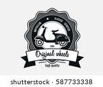 scooter vintage logo  emblem or ... | Shutterstock .eps vector #587733338