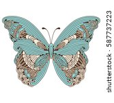 doodle stylized colored zen art ... | Shutterstock .eps vector #587737223