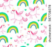 pattern of unicorns and... | Shutterstock .eps vector #587738378