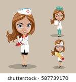 woman doctor or nurse in a... | Shutterstock .eps vector #587739170