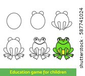 frog  drawing process  for kids ...   Shutterstock .eps vector #587741024