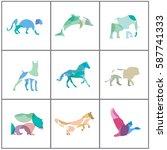 big set of colorful animal... | Shutterstock .eps vector #587741333