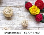 beautiful yellow roses on a... | Shutterstock . vector #587744750