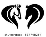 horse head side view simple... | Shutterstock . vector #587748254