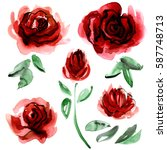 Stock photo watercolor hand painted flower elements for invitation wedding card birthday card dark red roses 587748713
