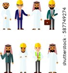 set the arab and european... | Shutterstock .eps vector #587749274